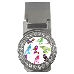 Birds Colorful Floral Funky Money Clips (cz)  by Amaryn4rt