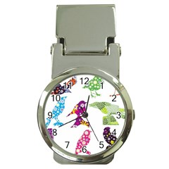 Birds Colorful Floral Funky Money Clip Watches