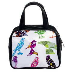Birds Colorful Floral Funky Classic Handbags (2 Sides) by Amaryn4rt