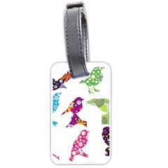 Birds Colorful Floral Funky Luggage Tags (one Side)  by Amaryn4rt
