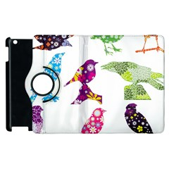 Birds Colorful Floral Funky Apple Ipad 2 Flip 360 Case by Amaryn4rt