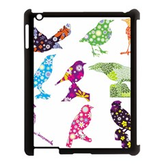 Birds Colorful Floral Funky Apple Ipad 3/4 Case (black) by Amaryn4rt