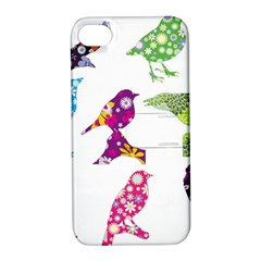 Birds Colorful Floral Funky Apple Iphone 4/4s Hardshell Case With Stand by Amaryn4rt