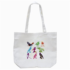Birds Colorful Floral Funky Tote Bag (white) by Amaryn4rt