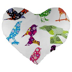 Birds Colorful Floral Funky Large 19  Premium Flano Heart Shape Cushions by Amaryn4rt