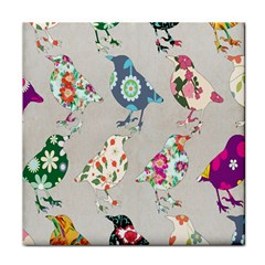 Birds Floral Pattern Wallpaper Tile Coasters by Amaryn4rt