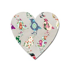 Birds Floral Pattern Wallpaper Heart Magnet