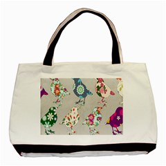 Birds Floral Pattern Wallpaper Basic Tote Bag by Amaryn4rt