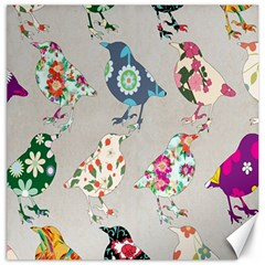 Birds Floral Pattern Wallpaper Canvas 20  X 20   by Amaryn4rt