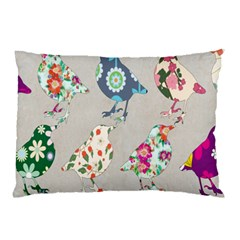 Birds Floral Pattern Wallpaper Pillow Case by Amaryn4rt