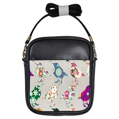 Birds Floral Pattern Wallpaper Girls Sling Bags by Amaryn4rt