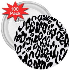 Black And White Leopard Skin 3  Buttons (100 Pack)