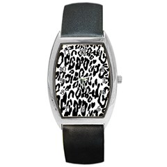 Black And White Leopard Skin Barrel Style Metal Watch by Amaryn4rt