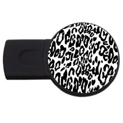 Black And White Leopard Skin Usb Flash Drive Round (4 Gb) by Amaryn4rt