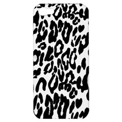 Black And White Leopard Skin Apple Iphone 5 Hardshell Case by Amaryn4rt