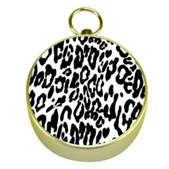 Black And White Leopard Skin Gold Compasses by Amaryn4rt