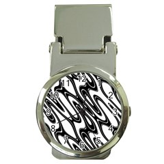 Black And White Wave Abstract Money Clip Watches by Amaryn4rt