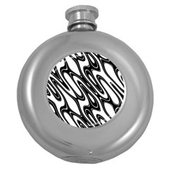 Black And White Wave Abstract Round Hip Flask (5 Oz) by Amaryn4rt