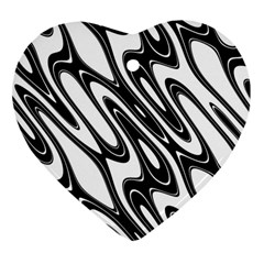 Black And White Wave Abstract Heart Ornament (two Sides) by Amaryn4rt