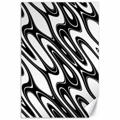 Black And White Wave Abstract Canvas 24  X 36  by Amaryn4rt