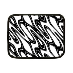 Black And White Wave Abstract Netbook Case (small)  by Amaryn4rt