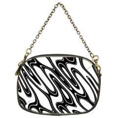 Black And White Wave Abstract Chain Purses (one Side)  by Amaryn4rt