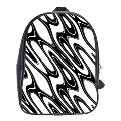 Black And White Wave Abstract School Bags(large)  by Amaryn4rt