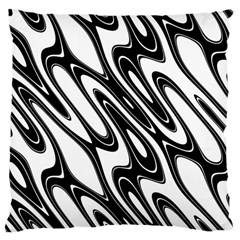 Black And White Wave Abstract Large Cushion Case (one Side) by Amaryn4rt