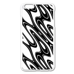 Black And White Wave Abstract Apple Iphone 6 Plus/6s Plus Enamel White Case by Amaryn4rt