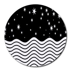 Black And White Waves And Stars Abstract Backdrop Clipart Round Mousepads by Amaryn4rt