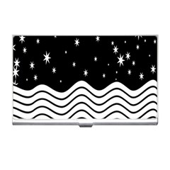 Black And White Waves And Stars Abstract Backdrop Clipart Business Card Holders by Amaryn4rt
