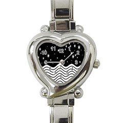 Black And White Waves And Stars Abstract Backdrop Clipart Heart Italian Charm Watch by Amaryn4rt