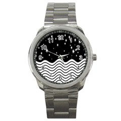 Black And White Waves And Stars Abstract Backdrop Clipart Sport Metal Watch by Amaryn4rt