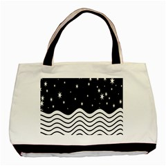 Black And White Waves And Stars Abstract Backdrop Clipart Basic Tote Bag by Amaryn4rt