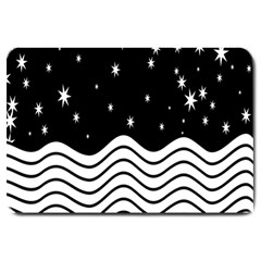 Black And White Waves And Stars Abstract Backdrop Clipart Large Doormat  by Amaryn4rt