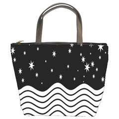 Black And White Waves And Stars Abstract Backdrop Clipart Bucket Bags by Amaryn4rt