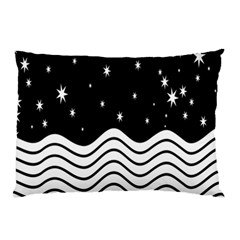 Black And White Waves And Stars Abstract Backdrop Clipart Pillow Case
