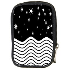Black And White Waves And Stars Abstract Backdrop Clipart Compact Camera Cases by Amaryn4rt