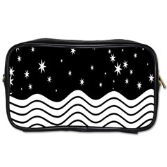 Black And White Waves And Stars Abstract Backdrop Clipart Toiletries Bags 2 Side