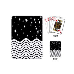 Black And White Waves And Stars Abstract Backdrop Clipart Playing Cards (mini)  by Amaryn4rt