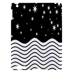Black And White Waves And Stars Abstract Backdrop Clipart Apple Ipad 3/4 Hardshell Case by Amaryn4rt