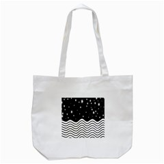 Black And White Waves And Stars Abstract Backdrop Clipart Tote Bag (white) by Amaryn4rt