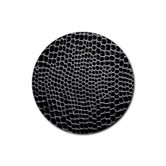 Black White Crocodile Background Rubber Coaster (round)  by Amaryn4rt