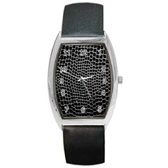 Black White Crocodile Background Barrel Style Metal Watch by Amaryn4rt