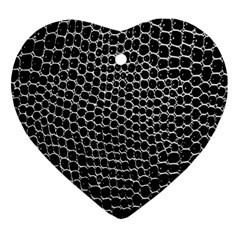Black White Crocodile Background Heart Ornament (two Sides) by Amaryn4rt