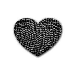 Black White Crocodile Background Rubber Coaster (heart)  by Amaryn4rt