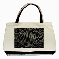 Black White Crocodile Background Basic Tote Bag (two Sides) by Amaryn4rt