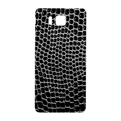 Black White Crocodile Background Samsung Galaxy Alpha Hardshell Back Case by Amaryn4rt