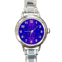 Blue And Pink Pixel Pattern Round Italian Charm Watch by Amaryn4rt