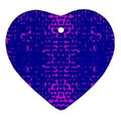 Blue And Pink Pixel Pattern Heart Ornament (two Sides) by Amaryn4rt